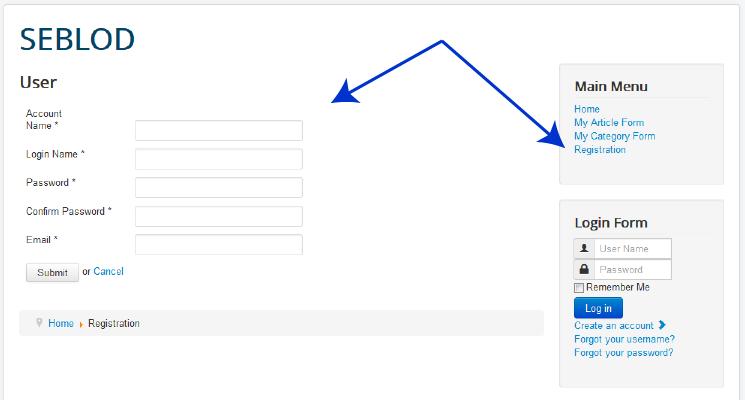Displaying a front-end Joomla! User registration Form
