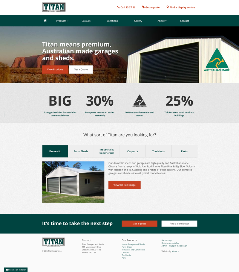 Titan Garages and Sheds Australia Website Thumbnail